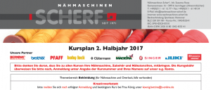 Nähkurse Kursplan 2017 2. Halbjahr