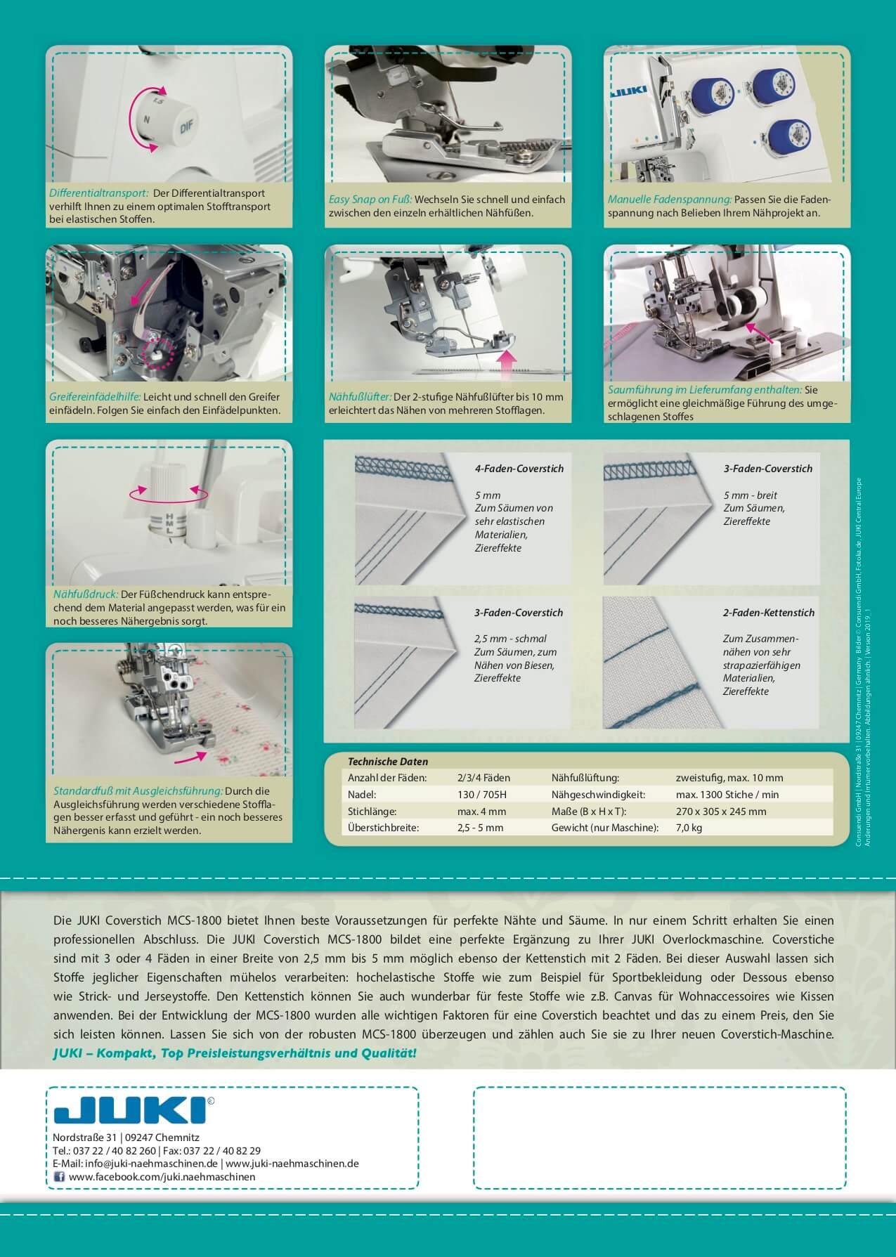JUKI Coverlock Kirei MCS 1800 Prospekt Seite 2