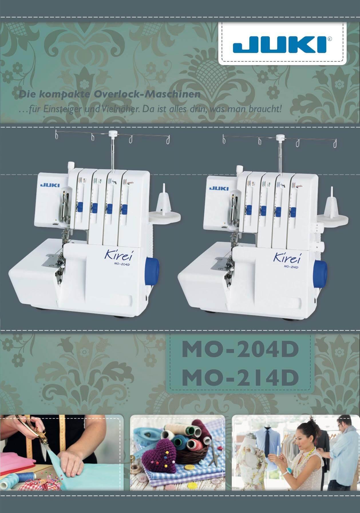 Juki MO-204 214D Kirei Overlock Prospekt Seite 1