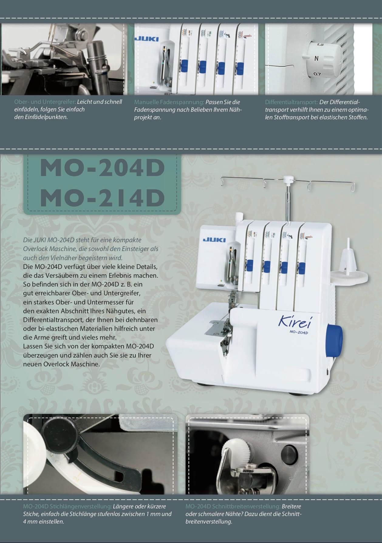 Juki MO-204 214D Kirei Overlock Prospekt Seite 2