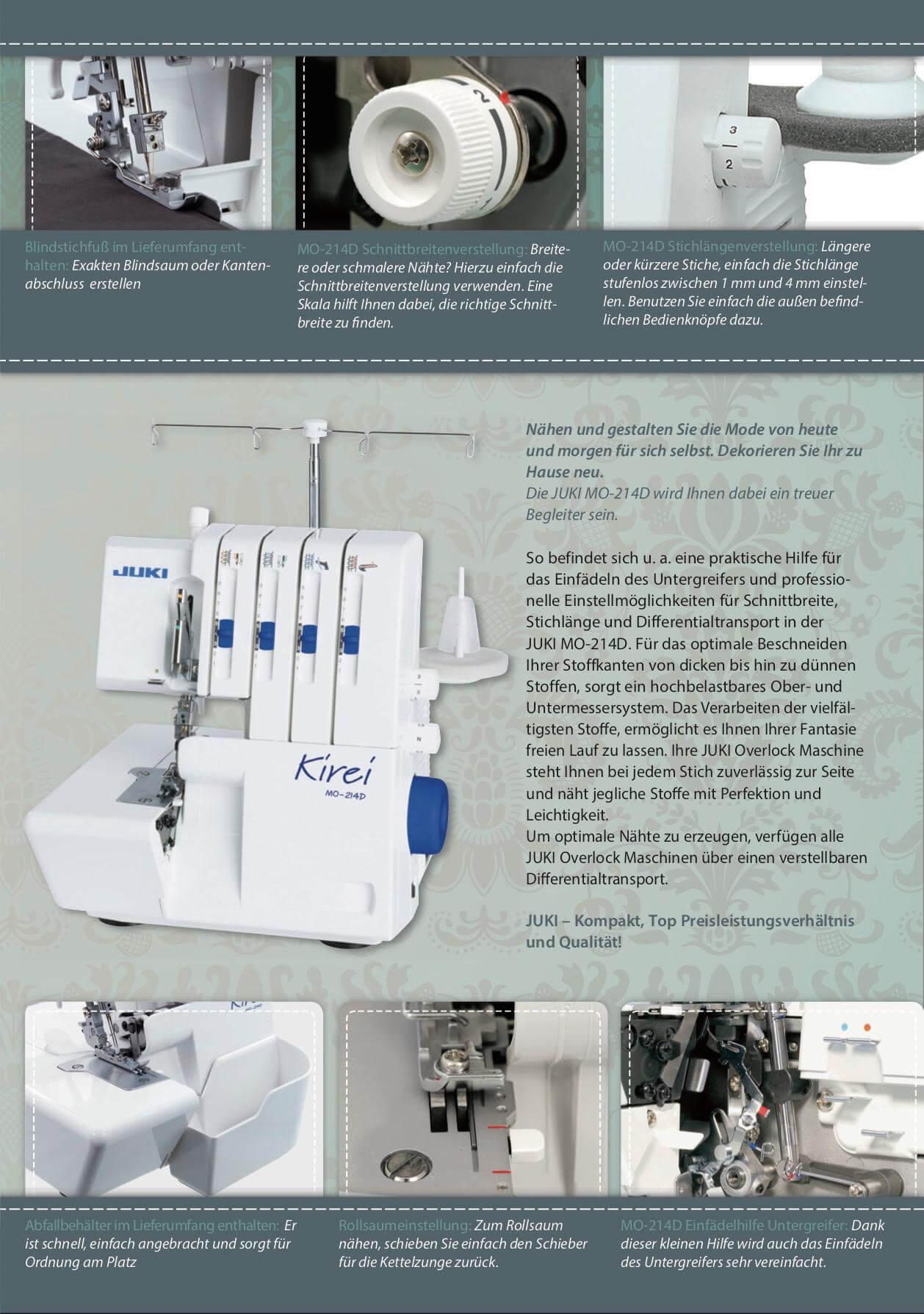 Juki MO-204 214D Kirei Overlock Prospekt Seite 3