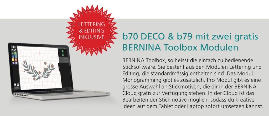 gratis Bernina Toolbox neue Bernette 70er Serie