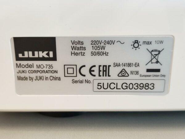 Juki MO 735 Overlock Seriennummer